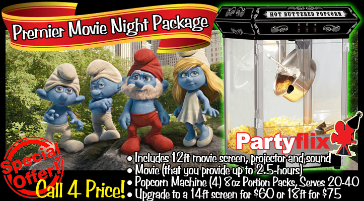 Movie Night Package Includes Inflatable Screen Rental and Popcorn Machine